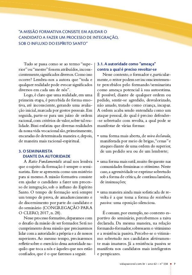 """vidapastoral.com.br • ano 62 • no 338 7 """"A MISSÃO FORMATIVA CONSISTE EM AJUDAR O CANDIDATO A FAZER UM PROCESSO DE INTEGRAÇ..."""