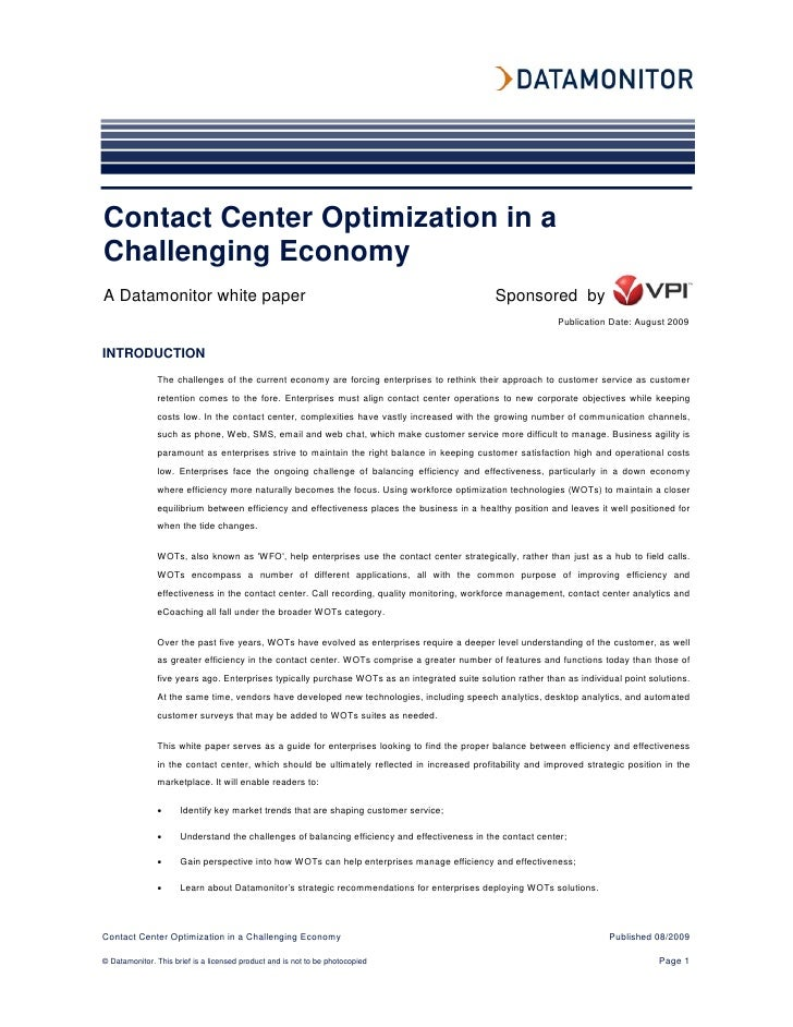 Contact Center Optimization in a Challenging Economy A Datamonitor white paper                                            ...
