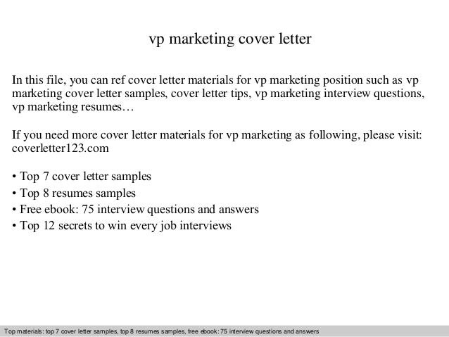 Vp Marketing Cover Letter In This File, You Can Ref Cover Letter Materials  For Vp ...