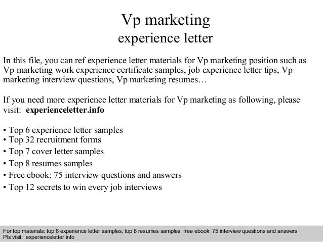 Vp Marketing Experience Letter