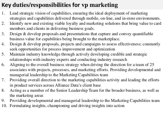 Vp Marketing Job Description