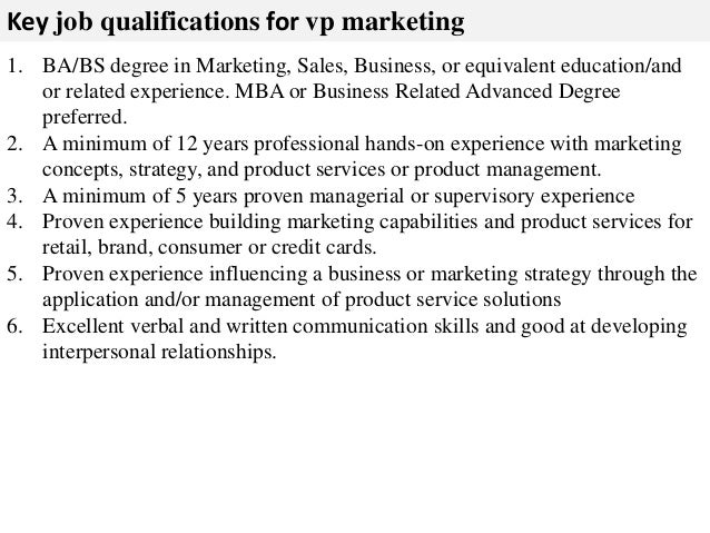 Vp Of Marketing Job Description  Plan