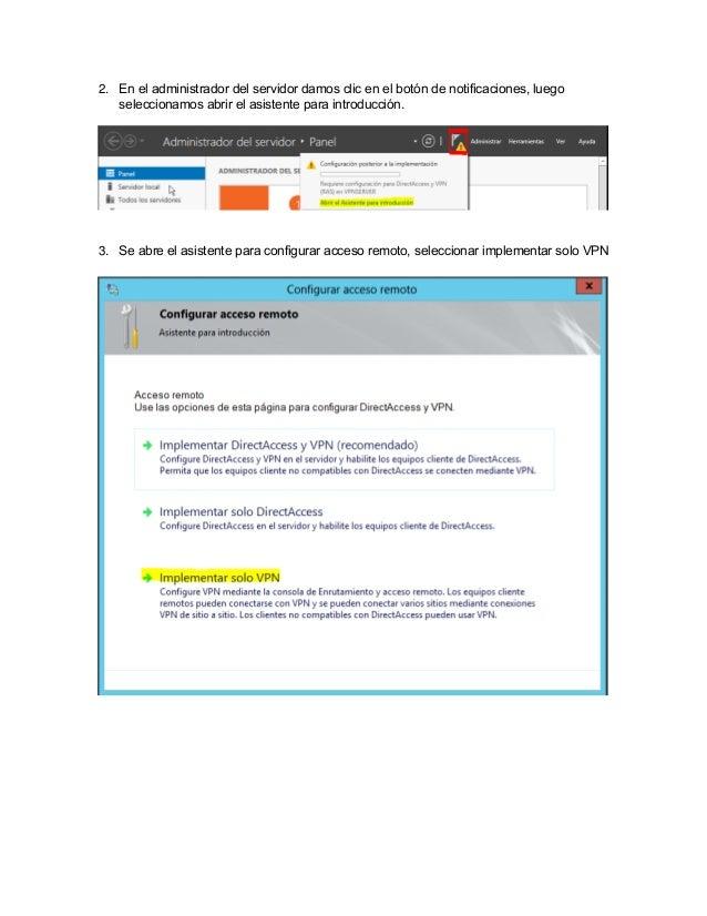 Configuracion de servidor y cliente vpn windows