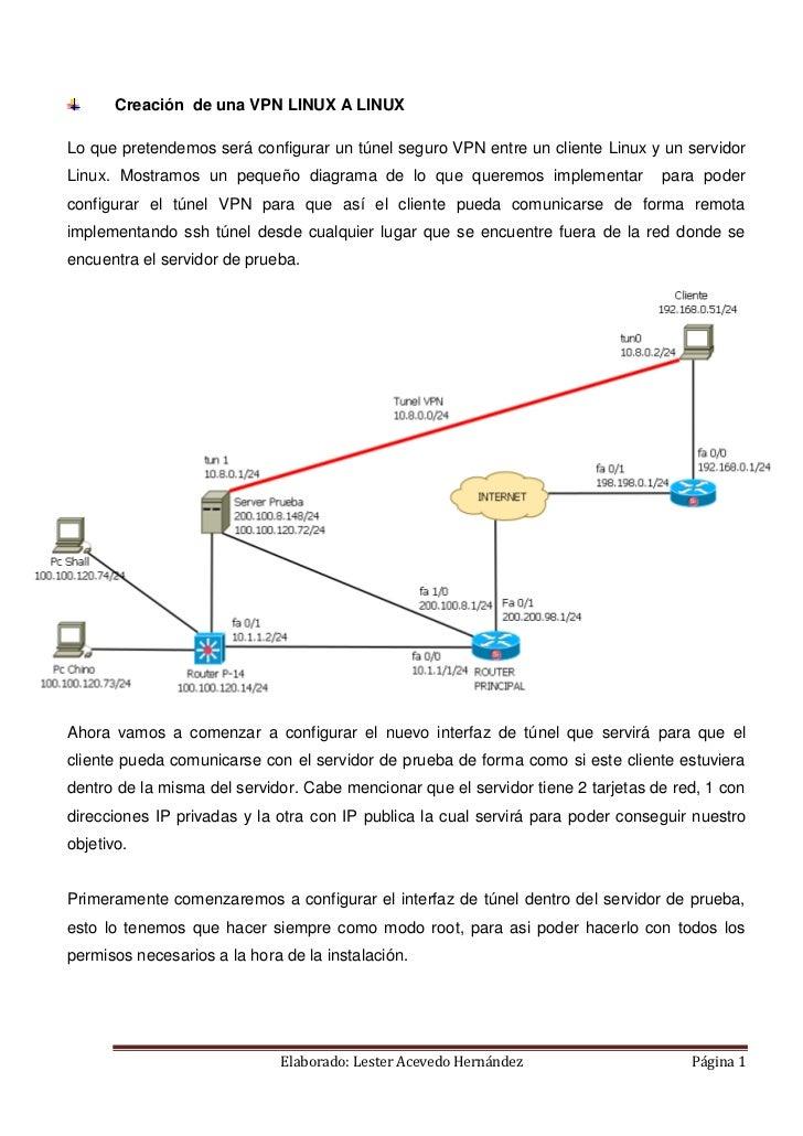 Creación de una VPN LINUX A LINUXLo que pretendemos será configurar un túnel seguro VPN entre un cliente Linux y un servid...