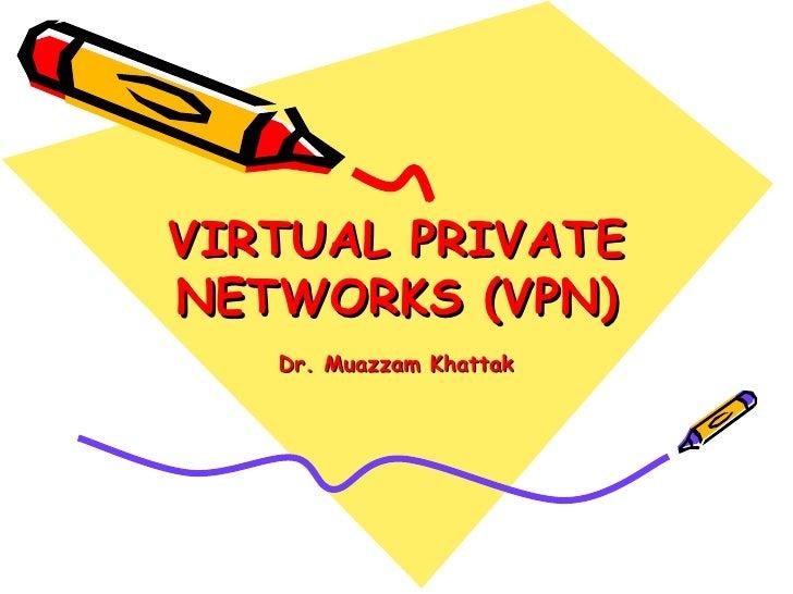 VIRTUAL PRIVATENETWORKS (VPN)   Dr. Muazzam Khattak