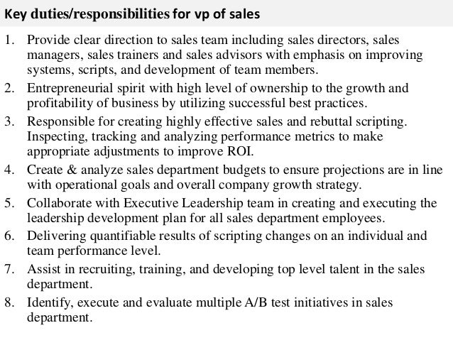 duties and responsibilities of sales staff