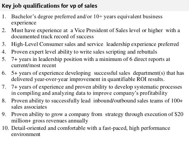 Vp of sales job description