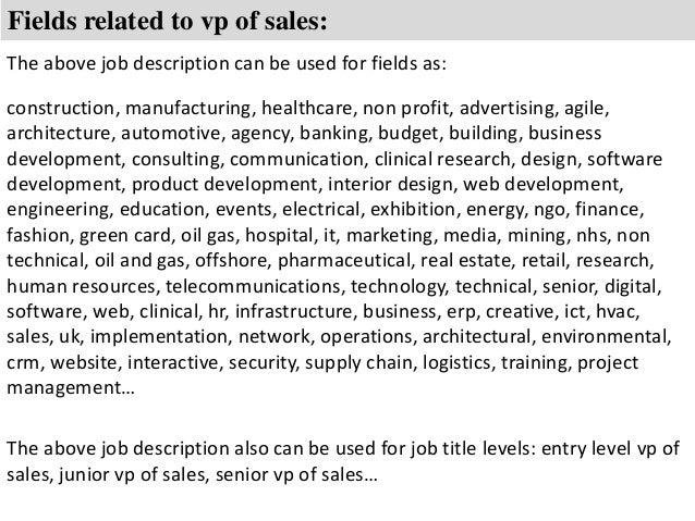 vp of sales job description