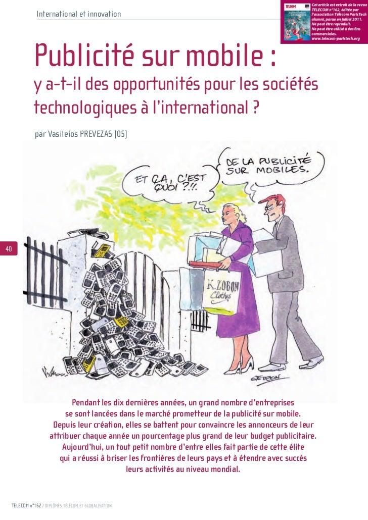 International et innovation           Publicité sur mobile :           y a-t-il des opportunités pour les sociétés        ...