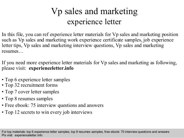 Vp Sales And Marketing Experience Letter