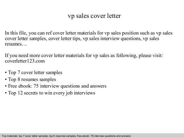Vp Sales Cover Letter In This File You Can Ref Materials For