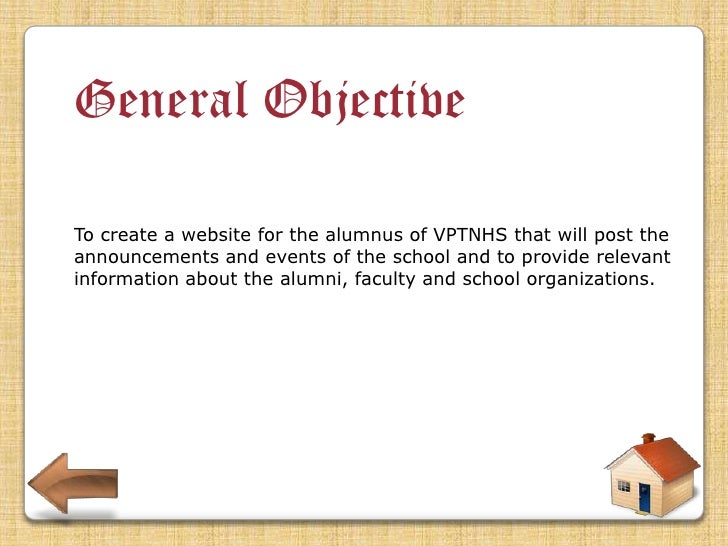 Specific Objective •To be able to develop a module that will help Vicente P. Trinidad National Highschool post their annou...