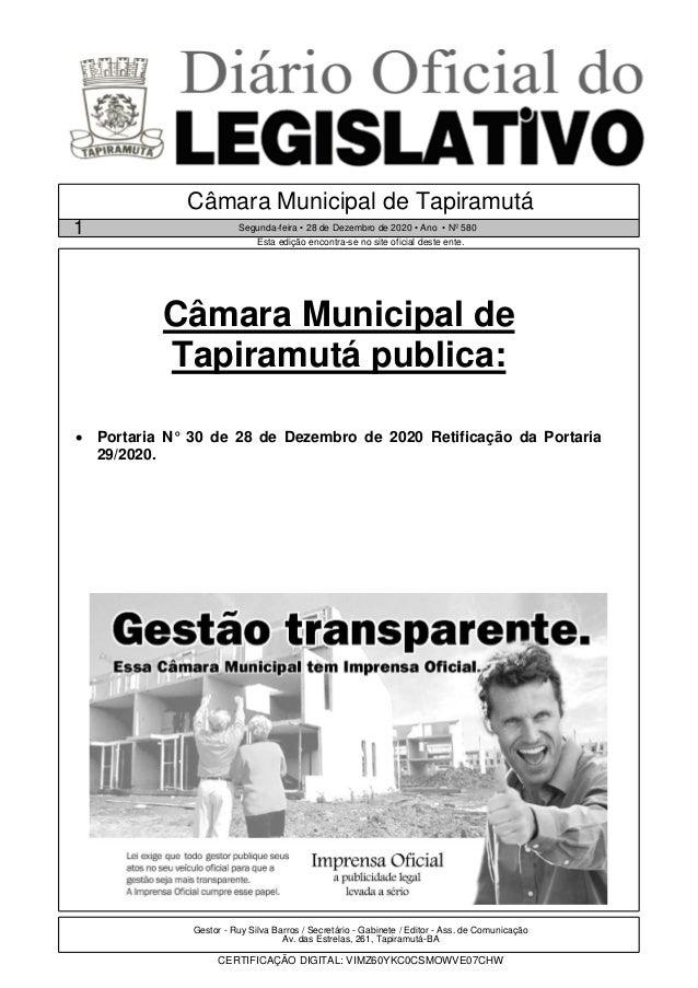 Gestor - Ruy Silva Barros / Secretário - Gabinete / Editor - Ass. de Comunicação Av. das Estrelas, 261, Tapiramutá-BA CERT...