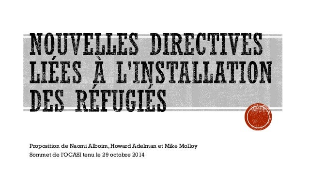 Proposition de Naomi Alboim, Howard Adelman et Mike Molloy  Sommet de l'OCASI tenu le 29 octobre 2014  1