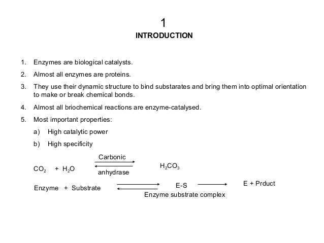 INTRODUCTION 1. Enzymes are biological catalysts. 2. Almost all enzymes are proteins. 3. They use their dynamic structure ...