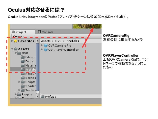Oculus対応させるには? Oculus Unity IntegrationのPrefab(プレハブ)をシーンに追加(Drag&Drop)します。 OVRCameraRig 左右の目に相当するカメラ OVRPlayerController 上...