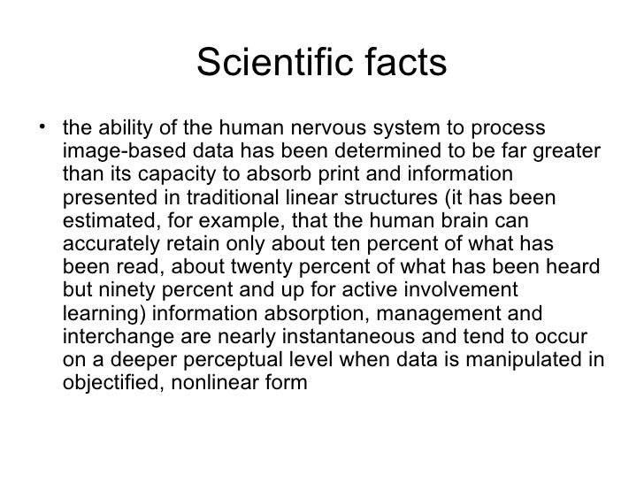 Scientific facts <ul><li>the ability of the human nervous system to process image-based data has been determined to be far...