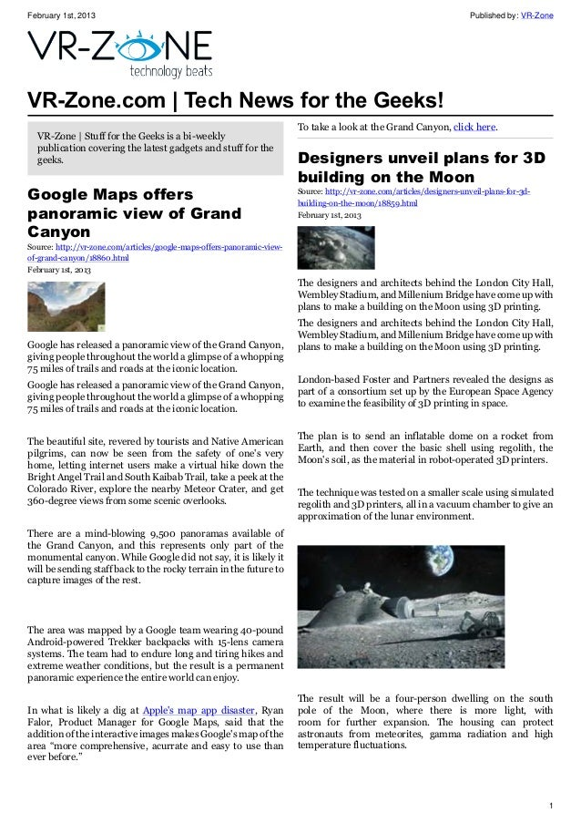 February 1st, 2013 Published by: VR-Zone 1 VR-Zone.com | Tech News for the Geeks! VR-Zone | Stuff for the Geeks is a bi-we...