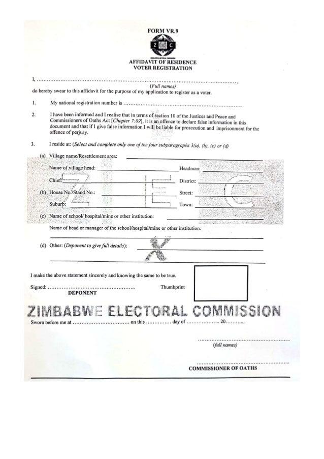 Zimbabwe Proof of Residence VR1 VR9 Affidavit Forms
