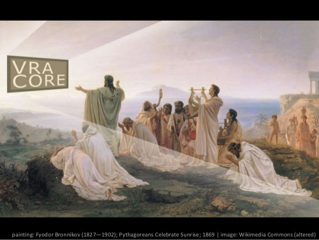 painting: Fyodor Bronnikov (1827—1902); Pythagoreans Celebrate Sunrise; 1869 | image: Wikimedia Commons (altered)