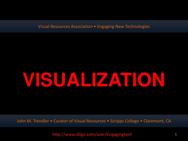 Visual Resources Association • Engaging New Technologies  VISUALIZATIONJohn M. Trendler • Curator of Visual Resources • Sc...