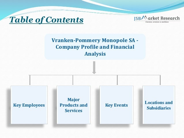 Table of Contents Vranken-Pommery Monopole SA - Company Profile and Financial Analysis Key Employees Major Products and Se...