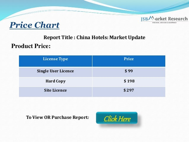 Price Chart Report Title : China Hotels: Market Update Product Price: License Type Price Single User Licence $ 99 Hard Cop...