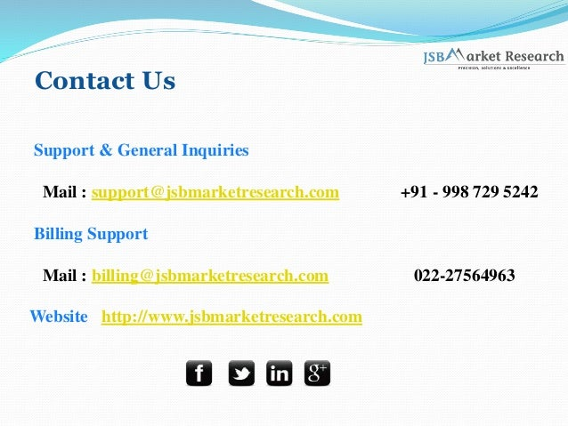 Contact Us Support & General Inquiries Mail : support@jsbmarketresearch.com +91 - 998 729 5242 Billing Support Mail : bill...