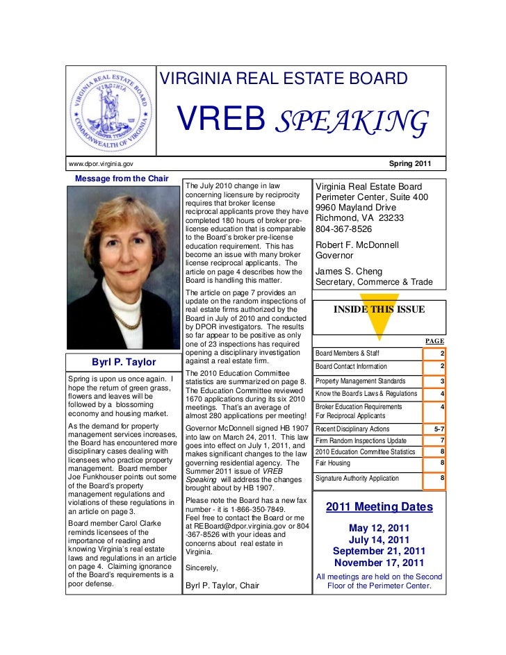 VIRGINIA REAL ESTATE BOARD                                  VREB SPEAKINGwww.dpor.virginia.gov                            ...