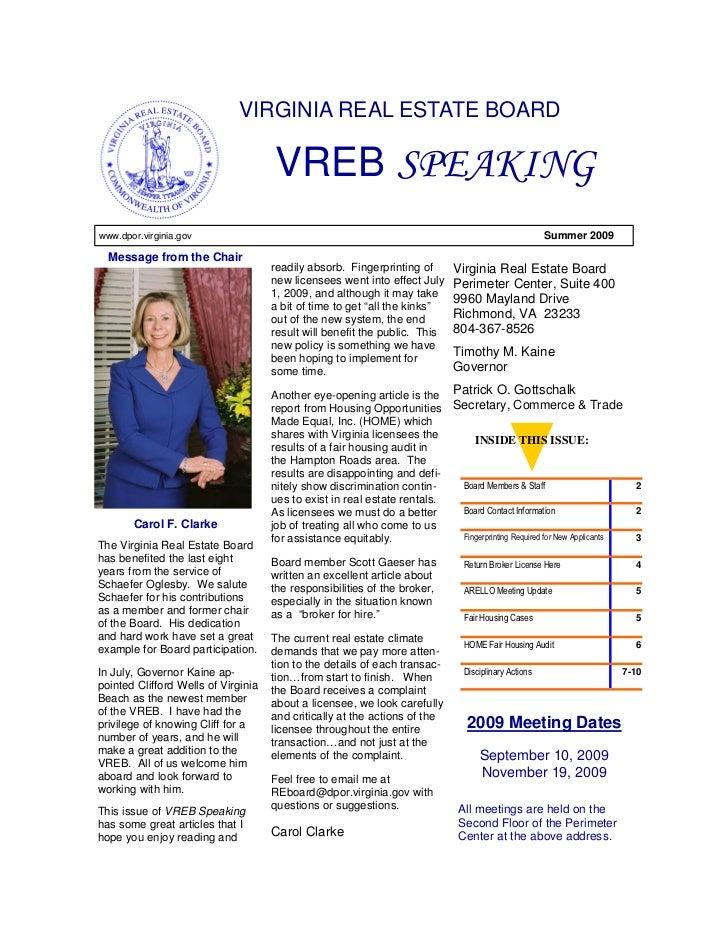 VIRGINIA REAL ESTATE BOARD                                       VREB SPEAKING www.dpor.virginia.gov                      ...