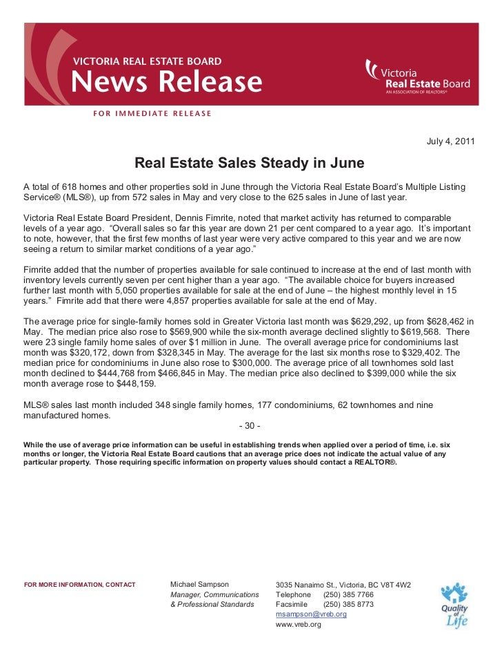 July 4, 2011                                Real Estate Sales Steady in JuneA total of 618 homes and other properties sold...