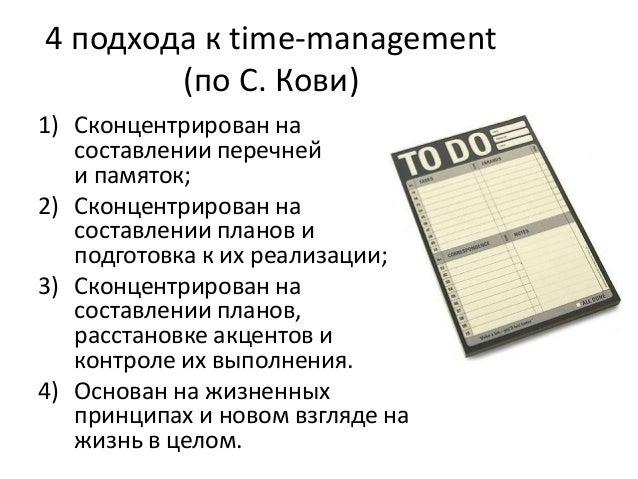 4 подхода к time-management (по С. Кови) 1) Сконцентрирован на составлении перечней и памяток; 2) Сконцентрирован на соста...