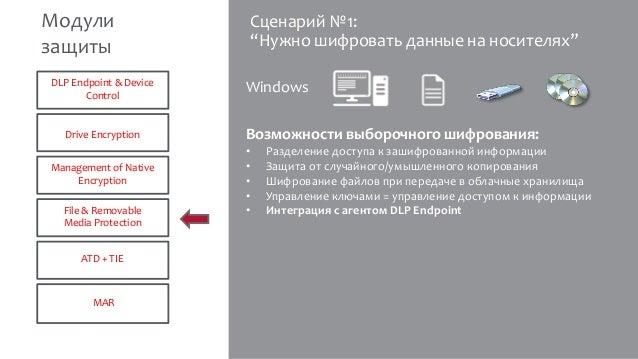 """Сценарий №1: """"Нужно шифровать данные на носителях"""" Возможности выборочного шифрования: • Разделение доступа к зашифрованно..."""