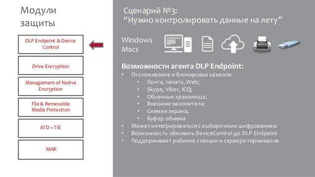 """Сценарий №3: """"Нужно контролировать данные на лету"""" Возможности агента DLP Endpoint: • Отслеживание и блокировка каналов: •..."""