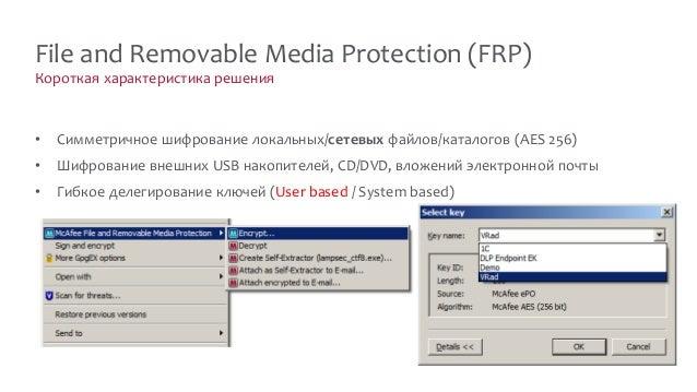 Короткая характеристика решения File and Removable Media Protection (FRP) • Симметричное шифрование локальных/сетевых файл...