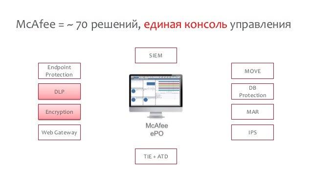 McAfee = ~ 70 решений, единая консоль управления DLP Encryption Web Gateway Endpoint Protection DB Protection MAR IPS MOVE...