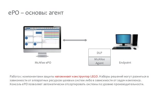 ePO – основы: агент McAfee ePO McAfee Agent DLP Endpoint Работа с компонентами защиты напоминает конструктор LEGO. Наборы ...