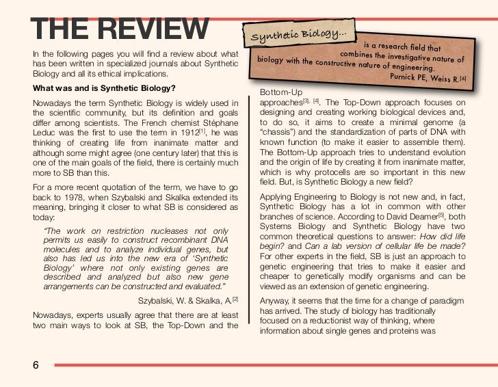 THE REVIEW                                                   Synthetic Biology...                                         ...