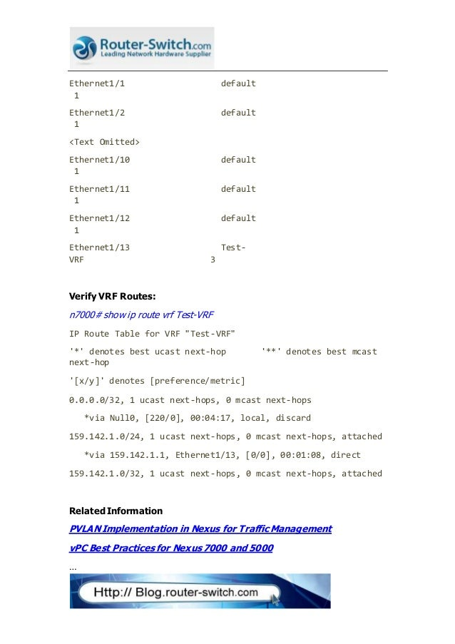 Vrf configuration and verification on nexus 7000