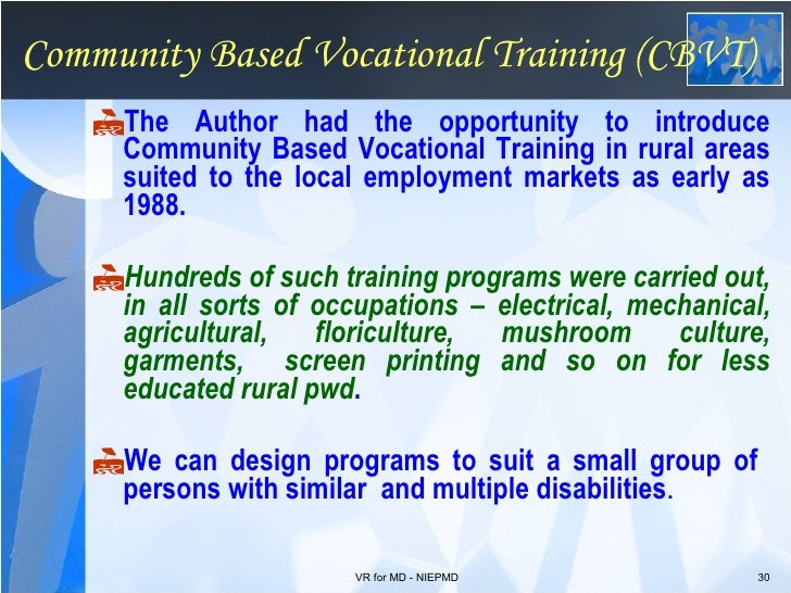 Vocational rehab for Persons with Multiple disabilities