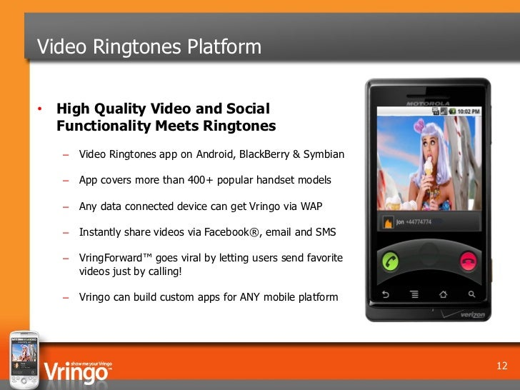 Video Ringtones Platform• High Quality Video and Social  Functionality Meets Ringtones   – Video Ringtones app on Android,...