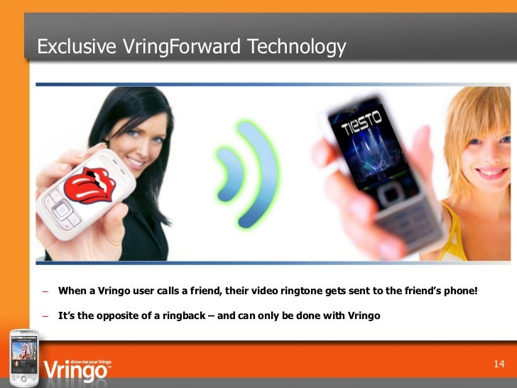 Exclusive VringForward Technology–   When a Vringo user calls a friend, their video ringtone gets sent to the friend's pho...