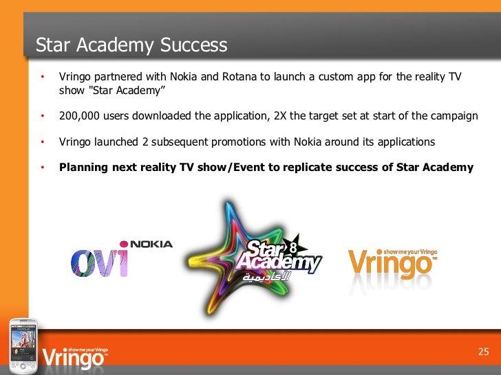 "Star Academy Success•   Vringo partnered with Nokia and Rotana to launch a custom app for the reality TV    show ""Star Aca..."