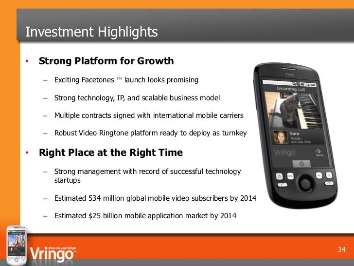 Investment Highlights• Strong Platform for Growth   – Exciting Facetones ™ launch looks promising   – Strong technology, I...