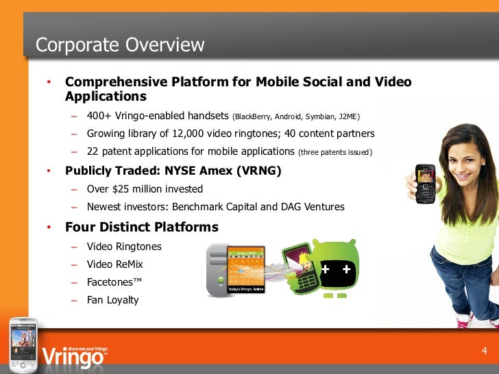 Corporate Overview •   Comprehensive Platform for Mobile Social and Video     Applications     – 400+ Vringo-enabled hands...