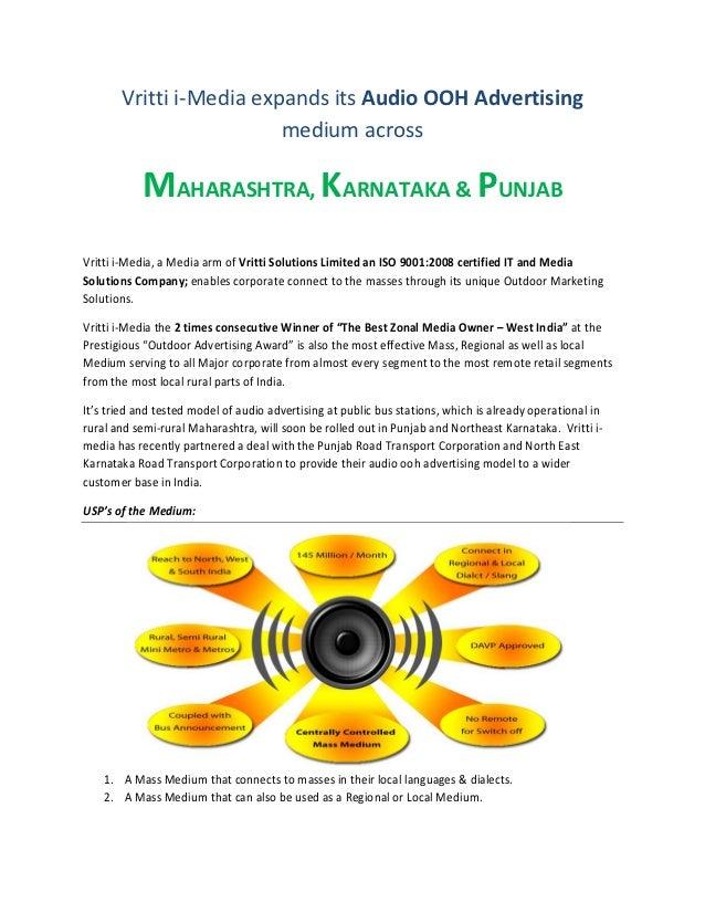 Vritti i-Media expands its Audio OOH Advertising                         medium across           MAHARASHTRA, KARNATAKA & ...