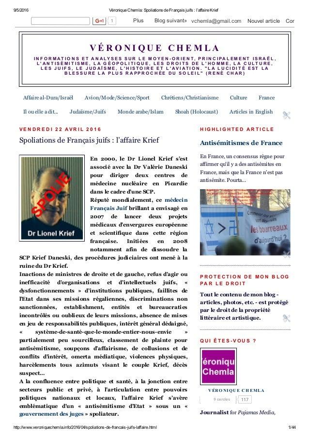 9/5/2016 VéroniqueChemla:SpoliationsdeFrançaisjuifs:l'affaireKrief http://www.veroniquechemla.info/2016/04/spoliat...