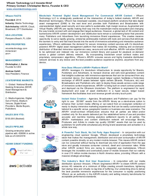 VRoom Technology LLC Investor Brief Primary Contact: Christopher Berno, Founder & CEO www.vroomtechnology.com VRoom FACTS ...