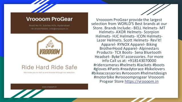 Vroooom ProGear provide the largest selection from WORLD'S Best brands at our Store. Brands Include:- BELL Helmets- MT Hel...