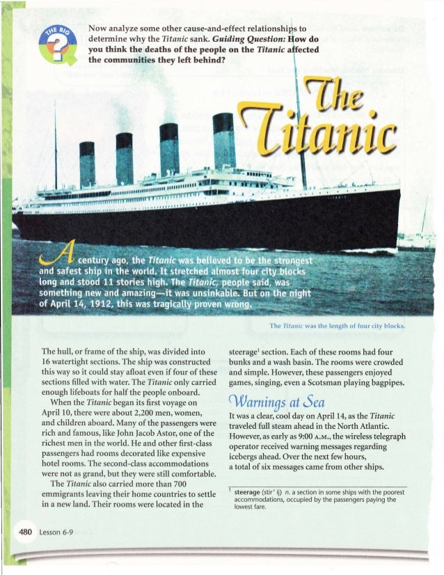 titanic cause and effect